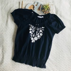 Boho Top With Embroidered Floral Design